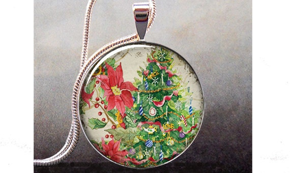 Christmas Tree & Poinsettia pendant, Christmas necklace resin pendant, Christmas jewelry