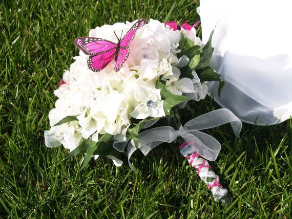 Spring Wedding Bouquet white beautiful hydrageas and hot pink butterflies
