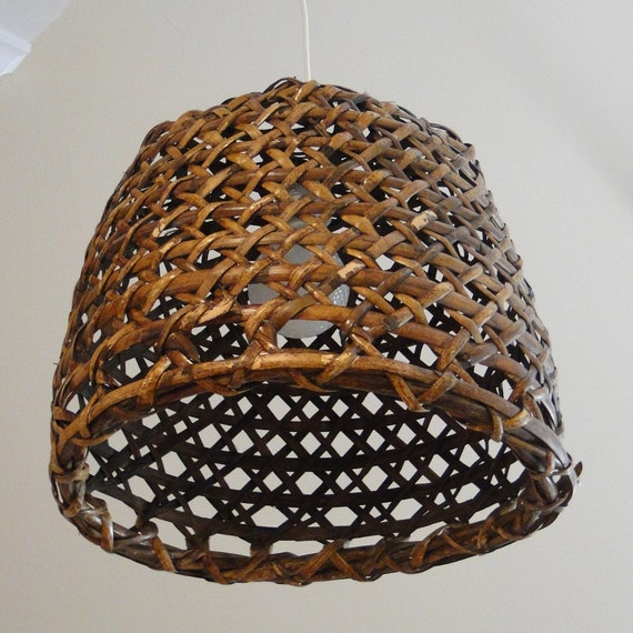 Woven Reed Natural Basket Pendant Lamp Rich Carmel Walnut Stained Earth Friendly Green Bohemian Fixture