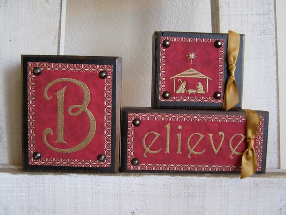 Believe Blocks  with Nativity In Red and Gold on Wood Blocks