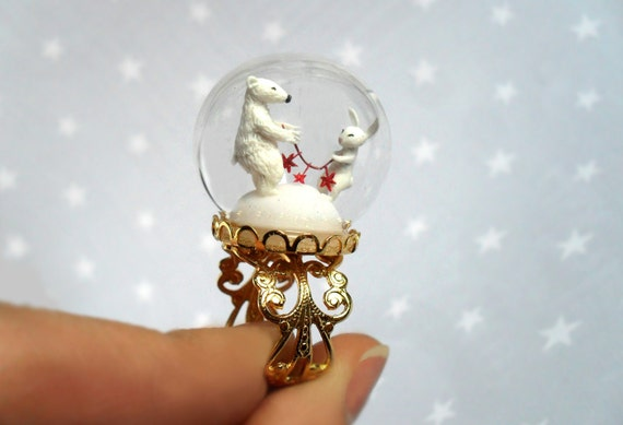 Ring Polar Bear and White Rabbit with a red garland -Terrarium ring for Christmas-Miniature