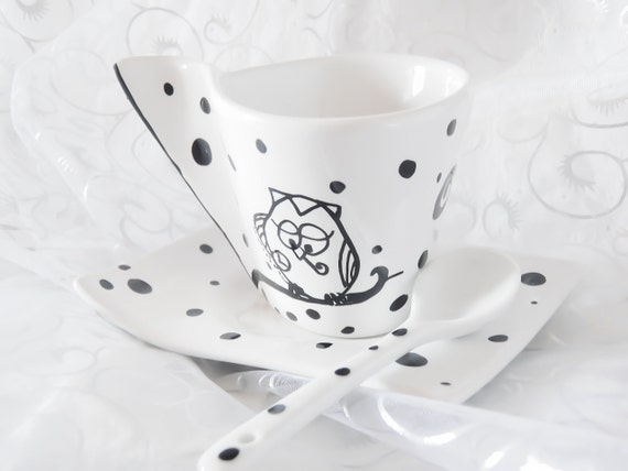 Espresso coffee cup, hand painted porcelain, two Cute Owls, Waiting for Santa on Christmas