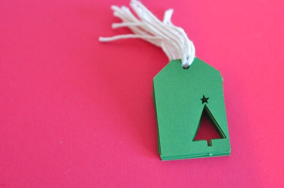 Green Christmas Tree Cutout Gift Tag