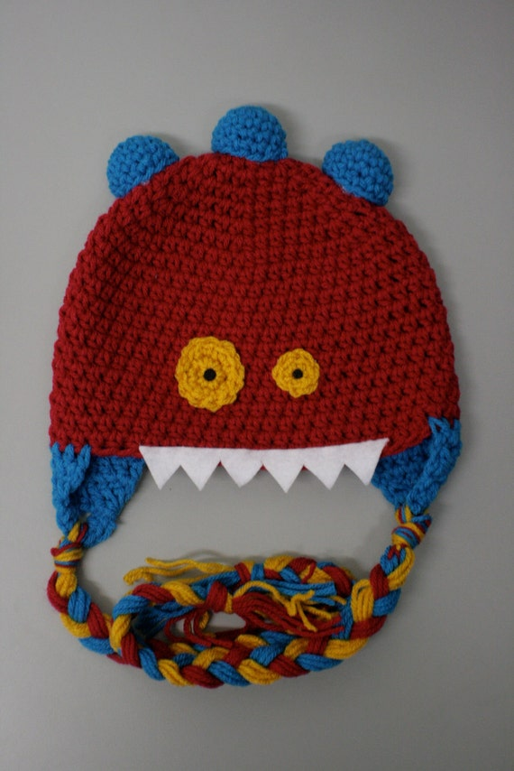 Three Horned Monster Hat --- ALL SIZES -- Custom Color Choices