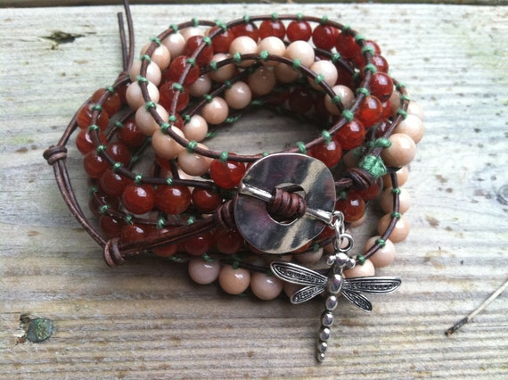 Leather Wrap Fire Agate Dragonfly Chan Luu style cuff- 5 wrap
