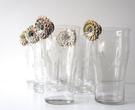 Table Decor, Vintage Paper Flowers, Set of Six - Wedding, Party, Event, Favor, Drinking Glass, Different, Unique, Cute, Little
