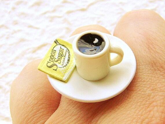 Kawaii Coffee Ring Miniature Food Jewelry