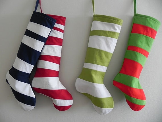 FIVE SEUSS Stockings - Pick Your Colors - Choose Five Striped Christmas Stockings Inspired by Dr Seuss