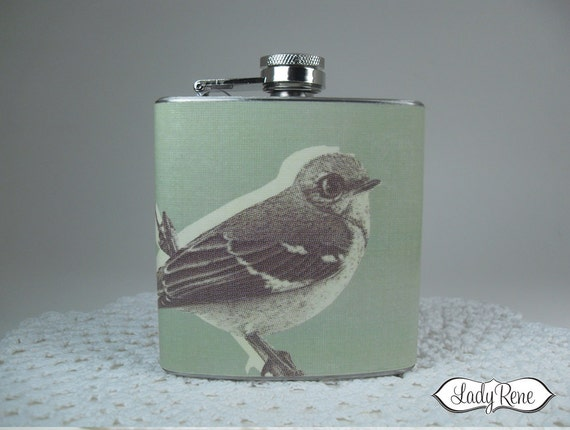 6oz Hip Flask - Bird Flask - Liquor Flask - Sparrow Accessories