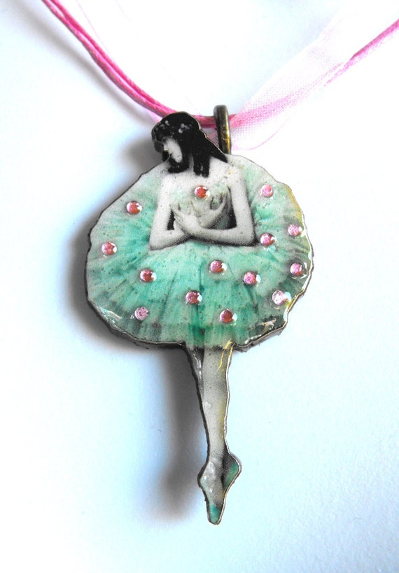Mint Green and Pink Ballerina Necklace