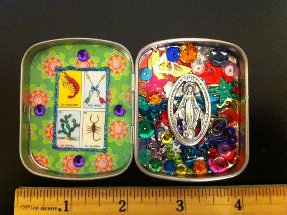 Virgin Mary Miraculous medal loteria mini shrine nicho tin box