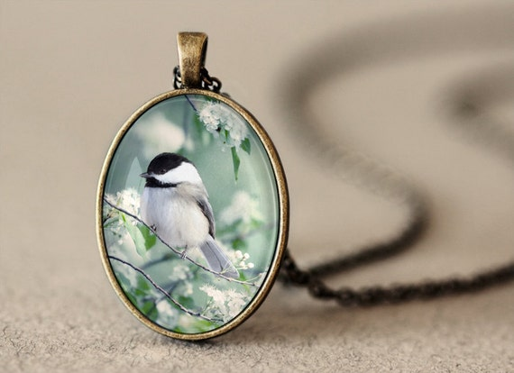 Chickadee Pendant - Bird Jewelry - Antique Brass Pendant Necklace - Bird Pendant - Photo Jewelry - Wearable Art - Under 25 - Photo Pendant