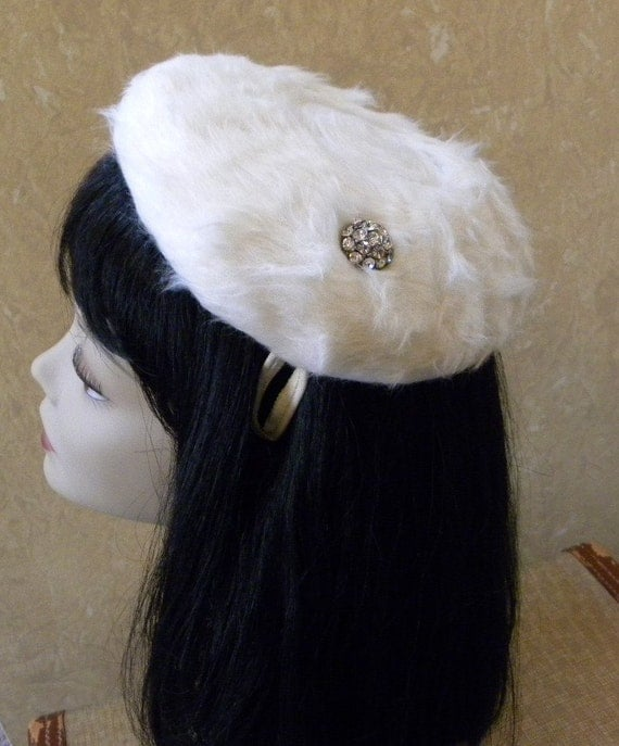 Vintage 1960s Winter White Faux Fur Hat -- Clip Style Beret Hat embellished with Rhinestones