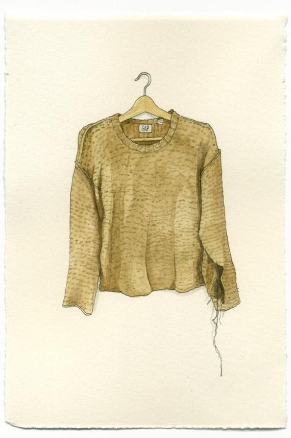 ORIGINAL Watercolor Illustration - Tan & Torn Gap Sweater