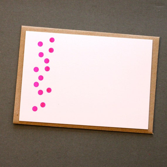 NEON DOTTY NOTECARDS - Set of Five Screen Printed Notecards