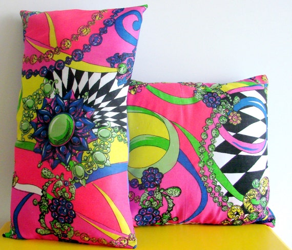 "Exuberent Neon Cushion/Pillow Cover Set. 14"" x 14"" & 19"" x 11""."