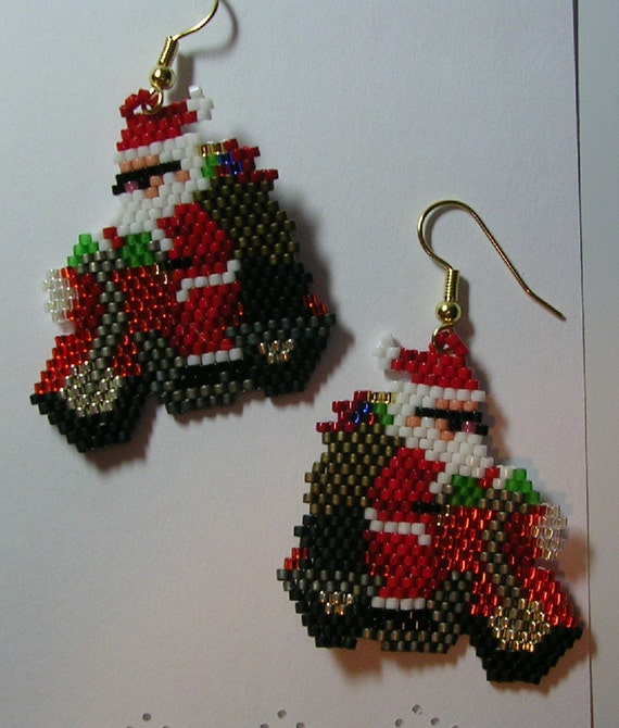 Biker Santa Earrings