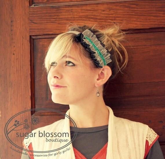 Turquoise Stripe ruffle headband