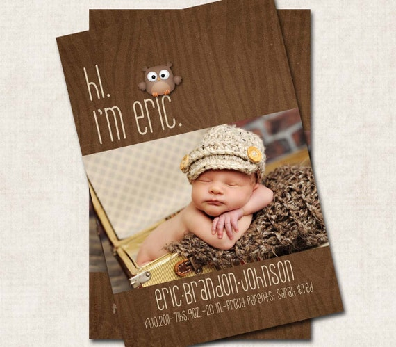 Baby Boy Birth Announcement Thank You by missbellaexpressions