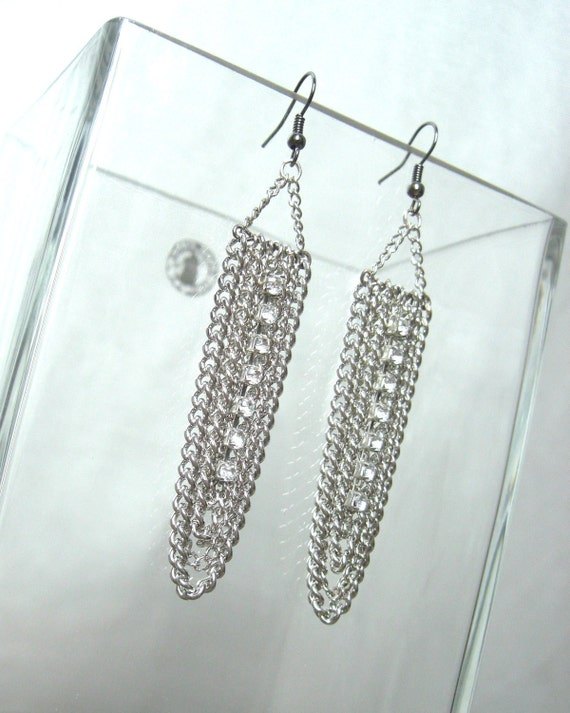 Chain Chandelier Earrings with Rhinestones