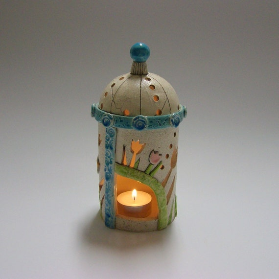 Holiday time -  Lantern with Birds and tulips