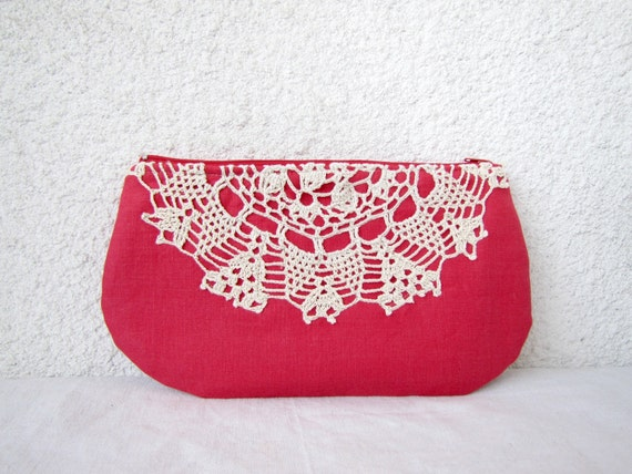 Raspberry and cream - Linen and Vintage Doily Clutch