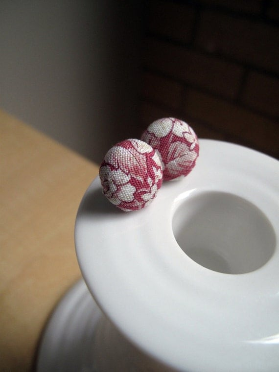 Fabric Covered Button Earrings- Pink Bouquet- Made with Vintage-Inspired Fabric