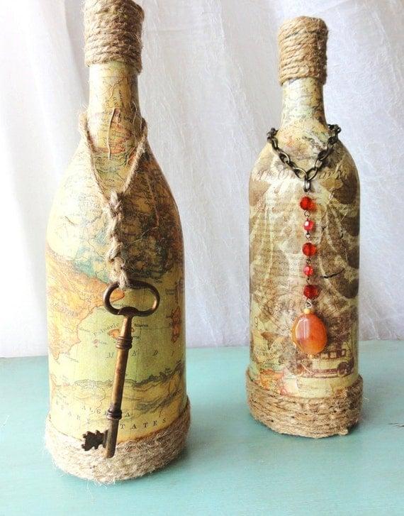 Эмилия-Vintage бутылки со старыми карт и ключей, функциональный ваза, декор пункт, единственный в своем роде подарка