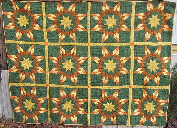 Antique Quilt Prairie Star Patchwork Vintage Quilts Cheddar