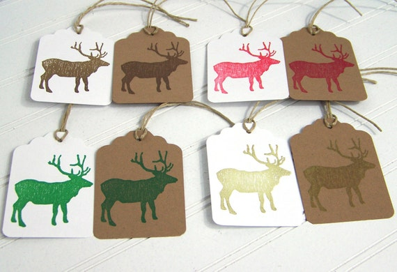 Holiday Gift Tags, Rustic Woodland Christmas, Brown Elk Reindeer Caribou, Handcut Hanging Tag, Gift Labels