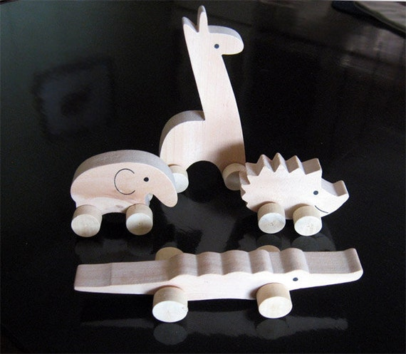 Wooden Animals on Wheels (set of 4)