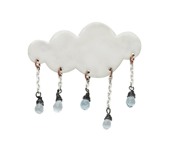 Rain cloud brooch
