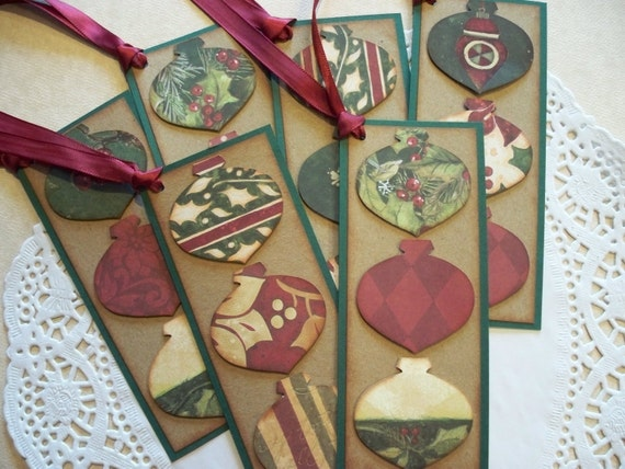 Vintage Christmas Tags/Bookmarks - Rustic Ornaments - Set of 6
