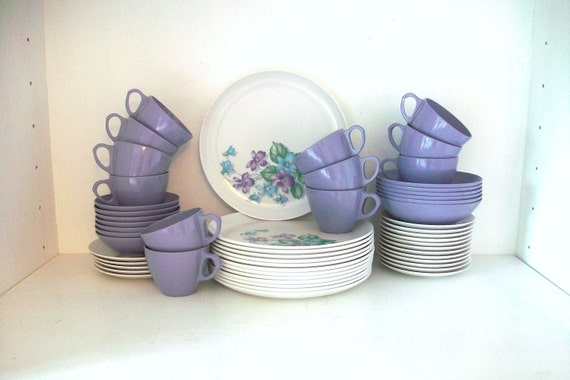 SUPER SALE- Collection Of Purple And White Vintage Melmac Dishes