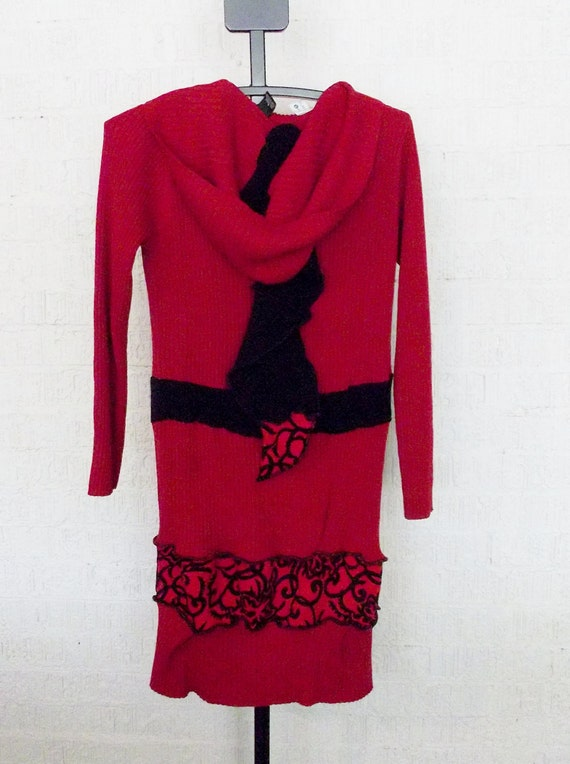 Recycled  Sweater Jacket in Red and Black
