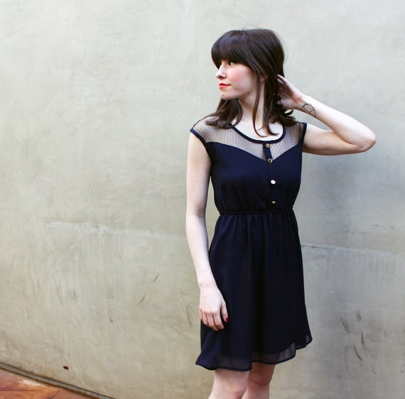PETIT DEJEUNER - BLEU Black Lace Illusion Neckline Vintage Inspired Navy Blue Chiffon Dress with Gold Buttons