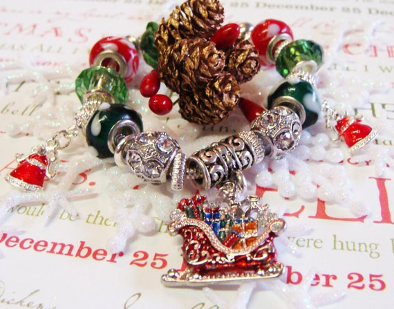 Christmas Red and Green Pandora Style Bracelet with Faceted Crystals and Rhinestones