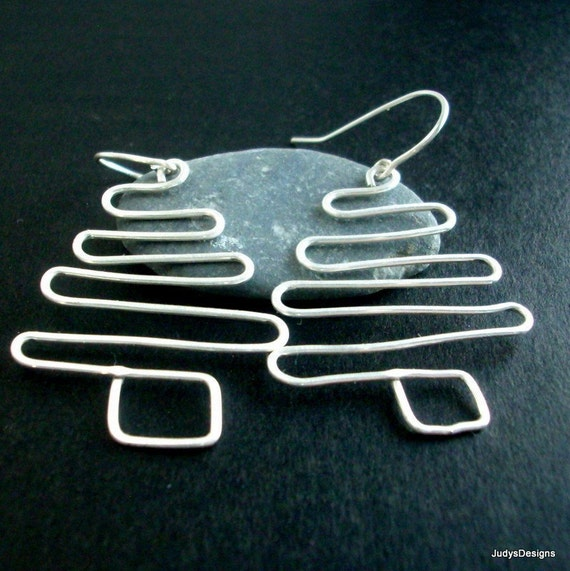 Sterling Silver Christmas Earrings, holiday jewelry, No4