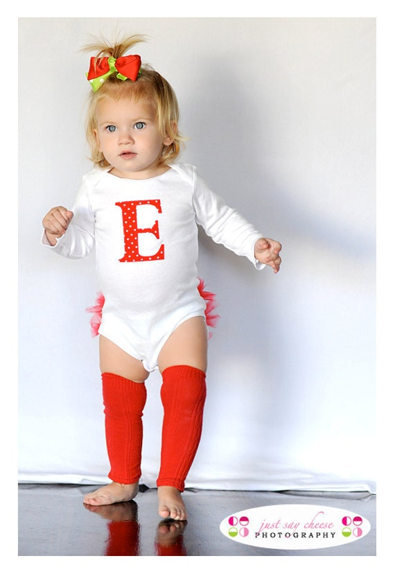 Personalized Red Polka Dot Holiday Ruffle Bottom Bodysuit - Baby Girl Christmas Gift
