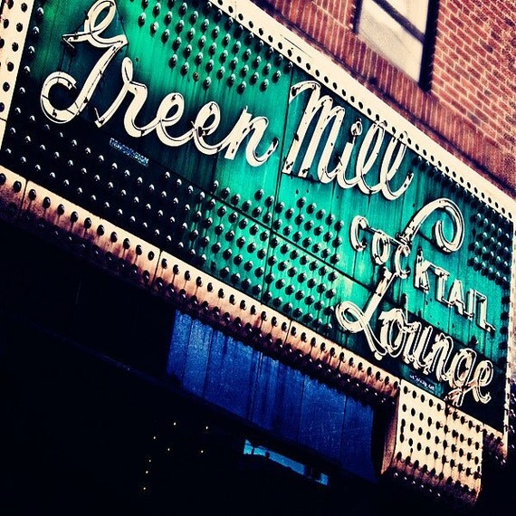 Chicago Art- Home Decor- Chicago Photography- Wall Art-   Vintage Marquee, Lounge Art, Urban Decor, Office Decor- 8x8- The Green Mill