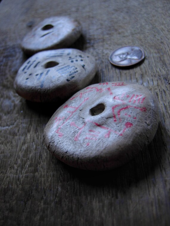 Tattooed - bisque donut pendants