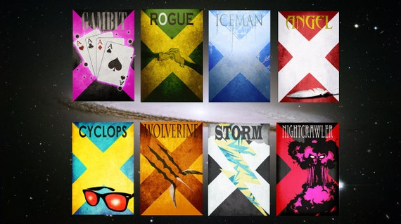 Movie poster movie art film print art poster print All 8 X-Men Posters (12x16 size)