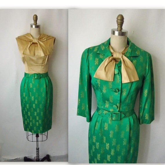 50's Cocktail Dress Set  // Vintage 1950's Gold & Emerald Satin Brocade Cocktail Party Wiggle Dress Jacket Ensemble XS