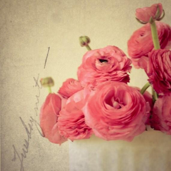 Обещание Romance - розовые розовые цветы в вазе белое марочное - романтический ностальгические фотографии - 8x8 Fine Print художественной фотографии