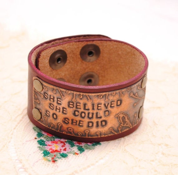 Etched Copper Bracelet Leather Cuff She Believed She Could So She Did Oxblood