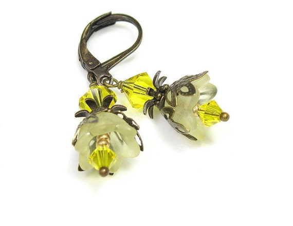 Flower Earrings, Citrine, Swarovski, Vintage Style Earrings, Lucite, Yellow