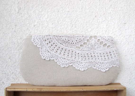 Romance - OOAK Linen and Vintage Doily piece Clutch Purse