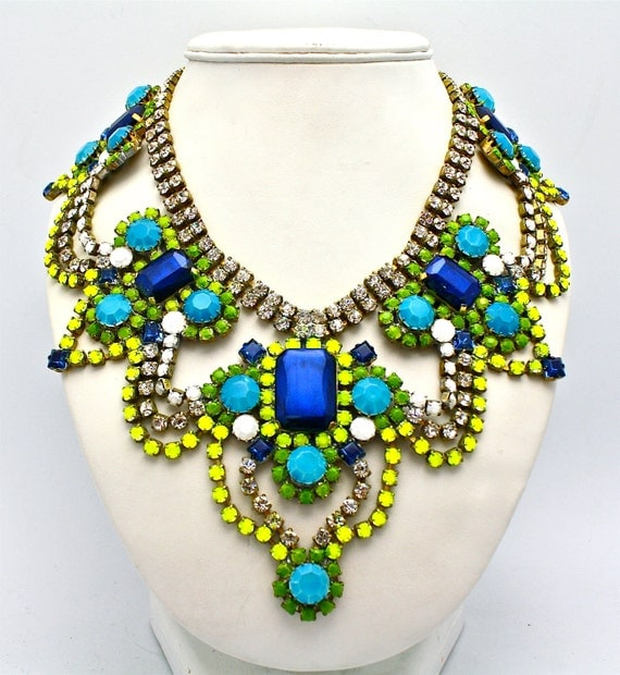 One of a Kind Statement Necklace Athens by DolorisPetunia on Etsy from etsy.com