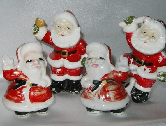 Shabby Santas Salt and Pepper Shakers - 2 Sets - Vintage Santa Claus for your Shabby Chic Christmas Holiday display - Fun with Santa