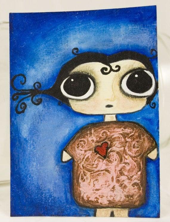 Bedtime Girl - Original ACEO ooak - FREE SHIPPING
